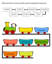 printable days of the week worksheets worksheets