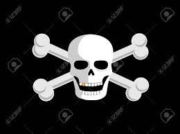 Black Flag With White Cross Jolly Roger Or Skull And Cross Bones Pirate Flag Lizenzfrei