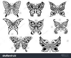 set eight ornamental black butterflies on stock vector 408172252