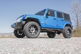 jeep wrangler 4 door blue rough country 609s 3 5