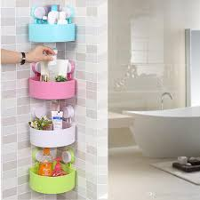 Corner Shelving Bathroom 2018 Wall Mounted Bathroom Corner Shelf Sucker Suction Cup Plastic