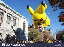 pikachu balloon macys thanksgiving parade stock photos pikachu
