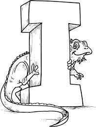 Green Iguana With Letter I Coloring Page For Kids Download I Coloring Pages