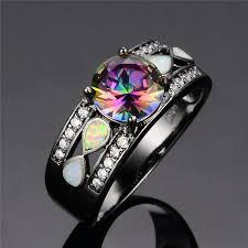opal engagement rings amazon com rongxing jewelry colorful opal rings rainbow mysteric