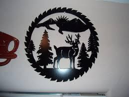 plasma cut deer scene sawblade wilderness black painted metal