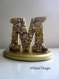 gold cake topper custom brooch letter monogram cake topper