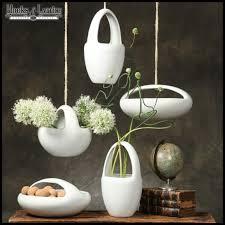 oval lunar hanging bowl planter white