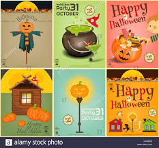 halloween posters set symbols and signs of october halloween