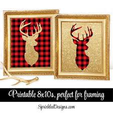 printable winter home decor deer head signs lumberjack red