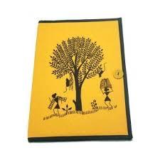 file cover design handmade rangresha yellow warli print cloth file folder with button rs 200