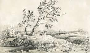 good 1839 graphite drawing landscape sulis fine art