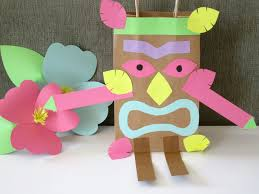 homemade luau party paper bag tiki guy design sprinkle