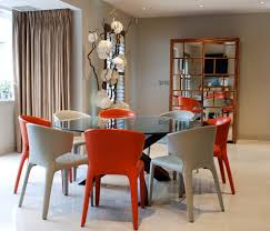 Modern Glass Dining Room Table Round Glass Dining Table Dining Room Modern With Art Bamboo Floor