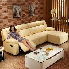 Yellow Sectional Sofa Yellow Recliner Sectional Sofa In Leather With Left Facing Chaise