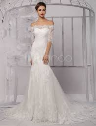 half lace wedding dress half sleeve the shoulder lace wedding dress in trumpet style