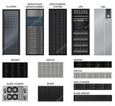 data center icon set server room equipment row of network server
