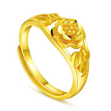 flower gold rings images Single flower opening ring female models plated imitation gold 999 jpg