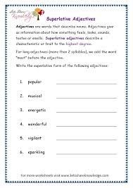 ideas collection degrees of adjectives worksheets for grade 6 on