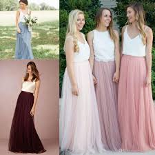 2017 two piece long country bridesmaid dresses floor length