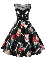 christmas plus size kitten swing dress in black 5xl sammydress com