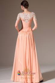 peach casual dresses with lace sleeves apricot peach prom dresses