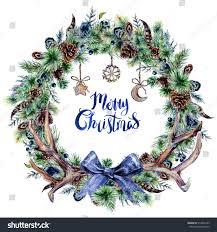 watercolor boho wreath made spruce stock illustration