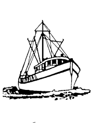Draw Fishing Boat Colouring Happy Colouring
