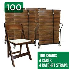 Folding Chairs 100 Wood Folding Chairs With 4 Dollies And 4 Straps Eventstable Com