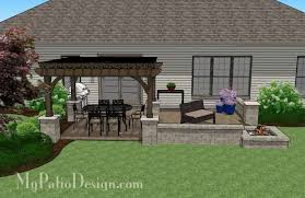 Backyard Brick Patio Design With 12 X 12 Pergola Grill Station by 440 Sq Ft Of Outdoor Living Space Areas For Outdoor Dining And