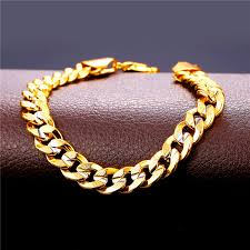 gold tone chain link bracelet images Cool men 39 s jewelry 18k two tone gold plated cuban curb chain jpg