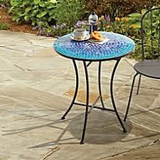Outdoor Bistro Table Outdoor Mosaic Bistro Table In Blue Bed Bath Beyond