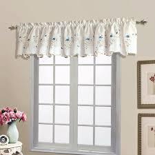 Blue Curtain Valance Amazon Com United Curtain Loretta Embroidered Sheer Shaped