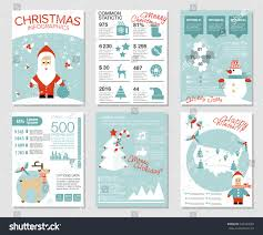 collection 6 christmas cards infographics templates stock vector