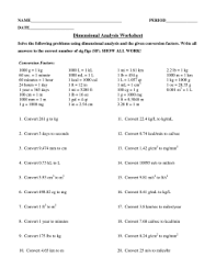 chemistry metric dimensional analysis worksheet answers