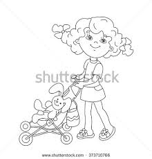 coloring outline cartoon playing stock vector 373710766