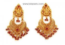 temple design gold earrings chandbali earrings temple jewellery 22k gold lakshmi drop