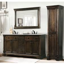 3 Piece Vanity Set Carrara White Marble Top 60 Inch Double Sink Coffee Bean Bathroom