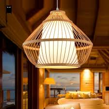 Wicker Pendant Light Bamboo Wicker Rattan Pyramid Pendant Light Fixture Rustic Asian