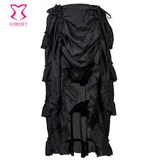 Buttons Buckles Ruffles Lace - black brocade steel boned corset sexy gothic clothing plus size