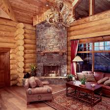 log rustic cabin living room with stone stairs also log wood