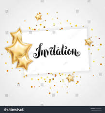 You Are Invited Card Gold Shine Star Invitation Background Banners Stock Vector