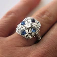art deco engagement rings vintage art deco diamond sapphire