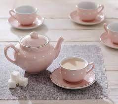 tea set pink ceramic classic tea set pottery barn kids
