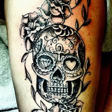 sugar skull and rose tattoo idea