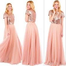 sparkly rose gold sequined long bridesmaids dresses 2017 plus size