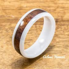 ceramic rings white images Koa wood ceramic rings perfect for wedding rings engagement jpg