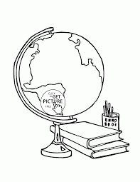 globe and supplies coloring page for kids back to