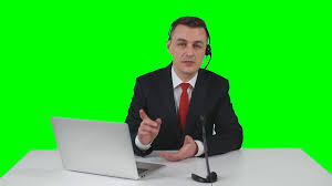 young tv reporter in suit telling about latest news during his
