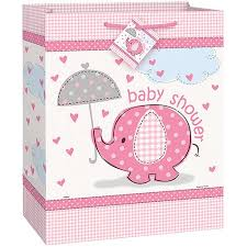 pink elephant baby shower large gift bag walmart