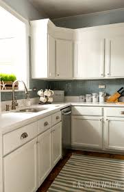 Gray Backsplash Kitchen Builder Grade Kitchen Makeover With White Paint
